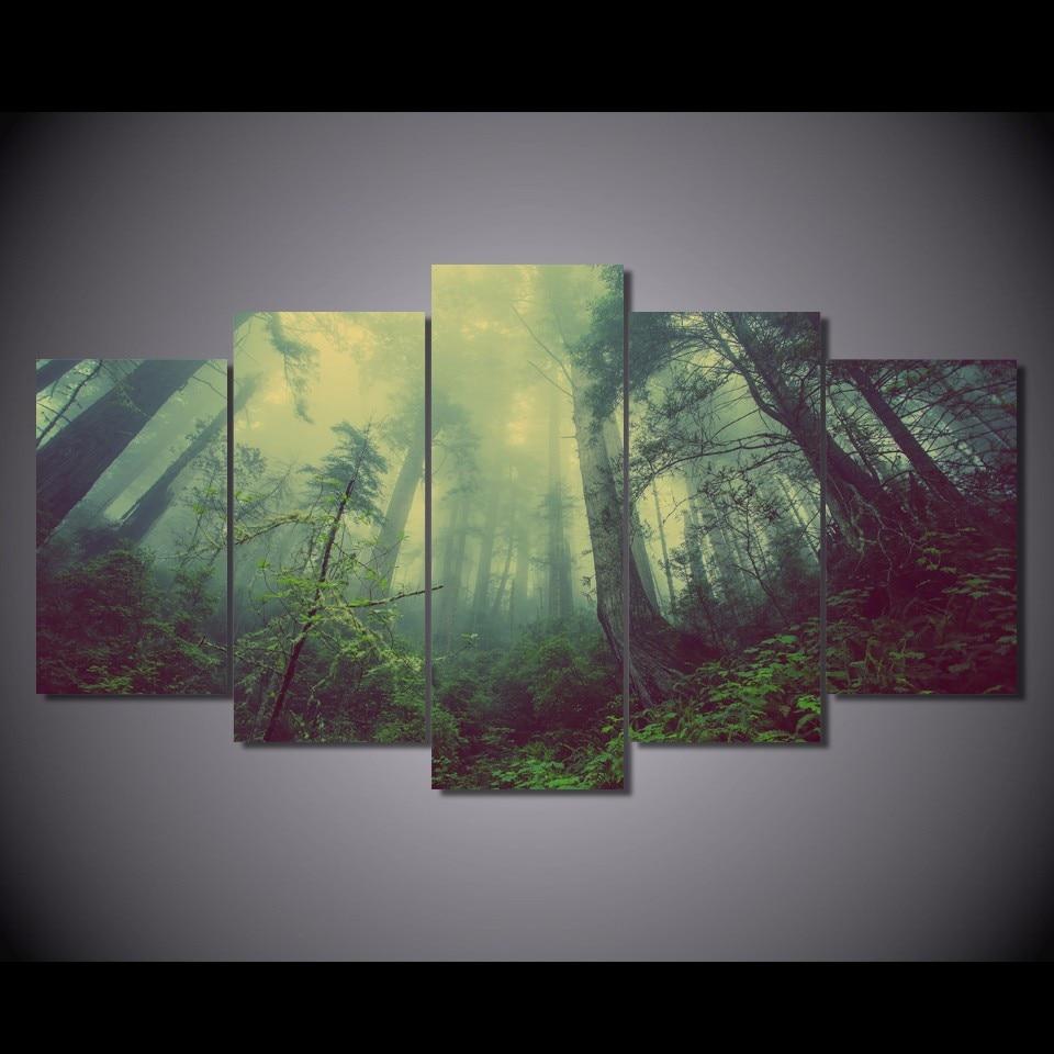 5 Teile/satz Gerahmte HD Gedruckt Wald Grün Nebel Bild Wandkunst ...