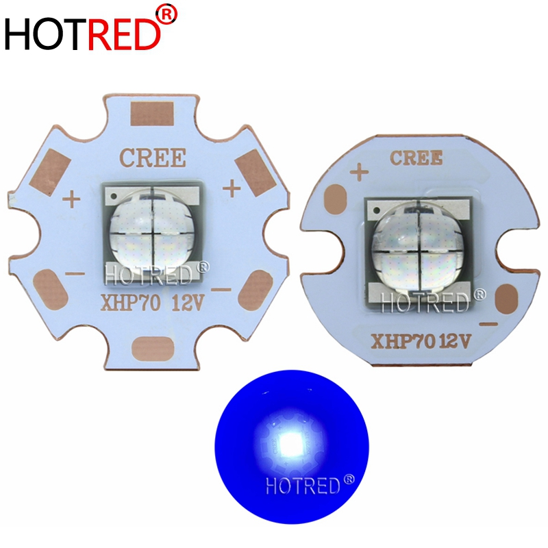 1-10PCS Epileds 7070 XHP70 4Chips 6V 12V 20W LED Emitter Diode Replace Cree MKR XHP70.2 Blue LED Light With 20/16mm Copper PCB