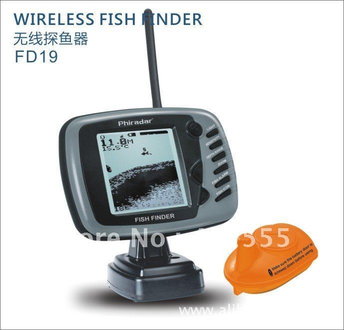Free shipping depth reading 30meters big screen wireless for How to read fish finder