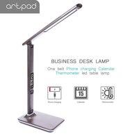 Artpad Foldable 5 Level Brightness Dimmer Modern Led Desk Lamp for Office Business Gift Table Lamp with Alarm Clock/Calendar
