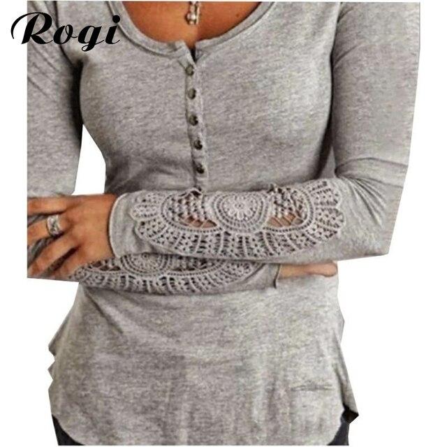 Rogi blusas Femininas 2018 вышивка вязаный крючком блузка туника с длинными рукавами рубашки Джемперы Топы пуловеры Camisas Mujer плюс Размеры