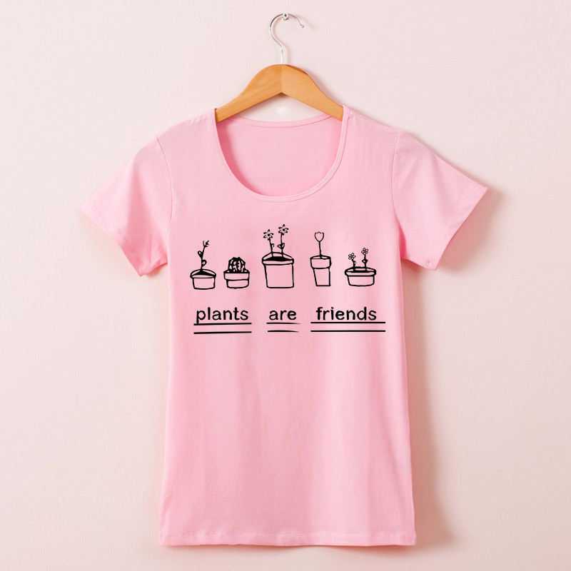 62e416bf1 ... Graphic Top Tees Plants Are Friends Woman T-shirt Bodysuit Tee Shirts  Cotton Short Sleeve Top. 1. The great looking women t shirt is suitable for  all ...