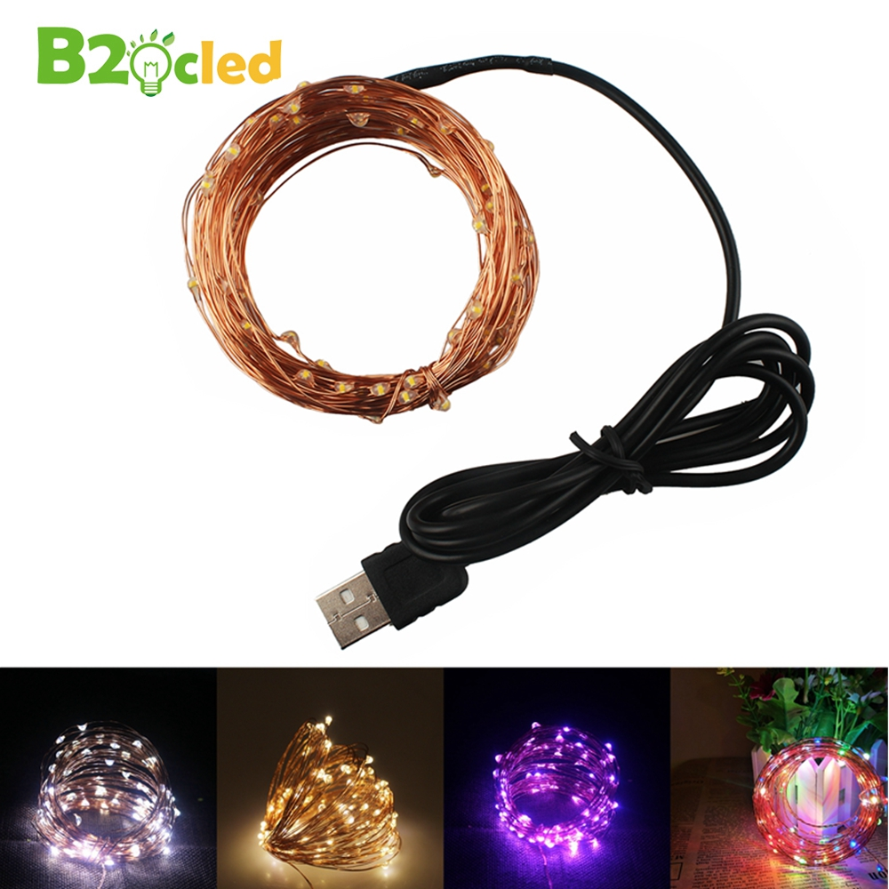 B2OCLED 10M 5V LED USB Copper Light String Christmas Light Holiday String Light Fairy Tale Christmas Party Home Lighting Outdoor