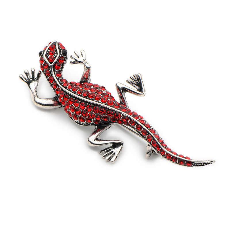 Wuli & Baby الفضة اللون الأحمر حجر الراين و Vintage الذهب اللون السحلية دبابيس الرجال النساء الحيوان مأدبة حفلات الزفاف بروش