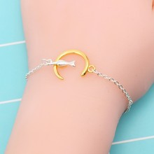 Fashion Simple Bracelet Female Gold Silver Metal Moon Cat Animal Jewelry Free Shipping