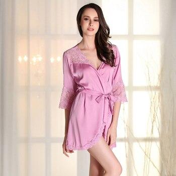 96bca8e2b70d RB0166 пикантные кружево V образным вырезом халат Летние Короткие Мини для женщин  ночные рубашки для девочек атласные шелковые халаты Половин..