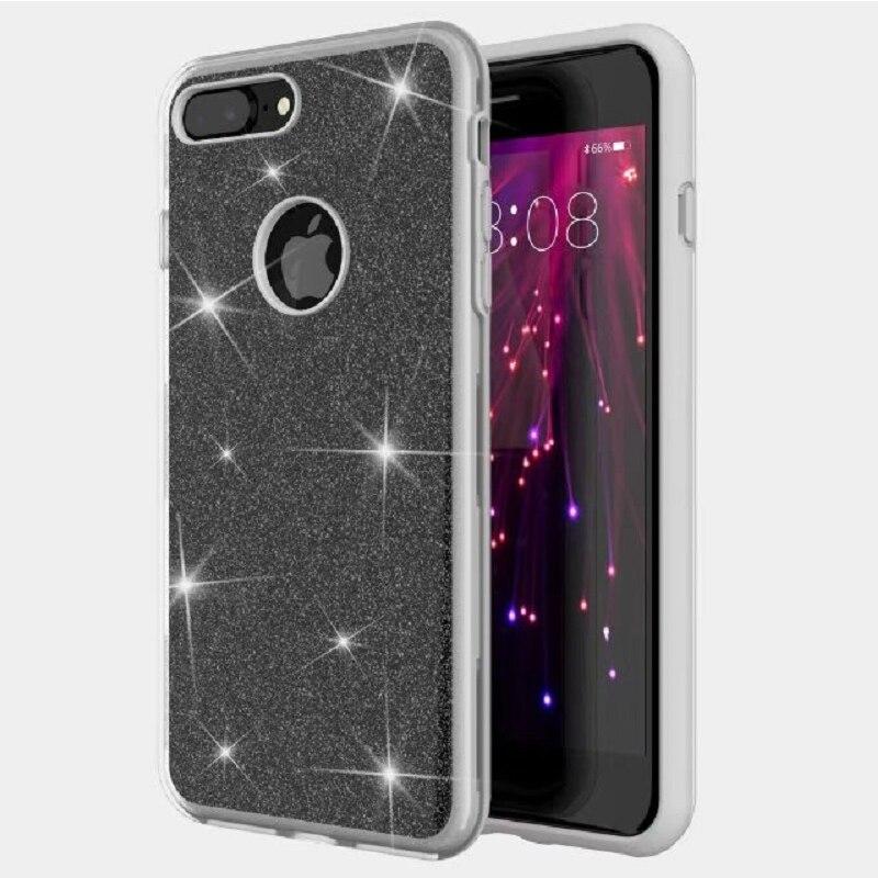 Matte Glitter Phone Case For iPhone 7 Case Glitter Bling Pink For iPhone 8 X 6 6S 5S 7Plus 8Plus 6Plus Case Glitter PC+TPU Cover