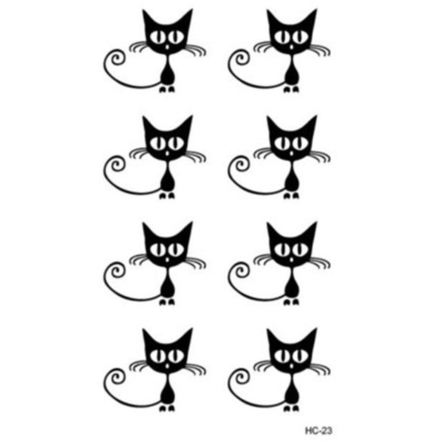 2 Pcs Sexy Legs Fresh Black Lovely Cute Cat Temporary Tattoo Sticker Body Art Flash Tattoo Waterproof Fake Tattoo Women