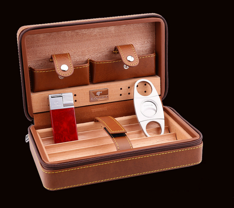 Haute qualité cèdre cigare accessoires boîte à eau peau portable voyage cigarette boîte à cigares couteau lumière humidificateur 3