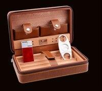 High quality cedar cigar accessories water box skin portable travel cigarette cigar box knife light humidifier 3