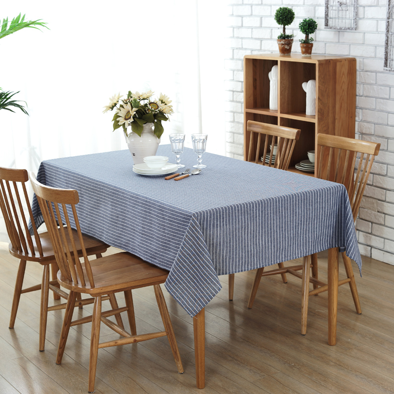Brief Striped Tablecloth High Quality Pastoral Home Decorative Dinning Table  Cloth For Wedding Party Rectangle Table