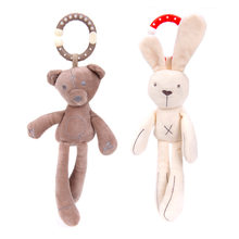 Cute Baby Crib Stroller Toy Rabbit Bunny Bear Soft Plush Infant Doll Mobile Bed Pram Kid Animal Hanging Ring Ring Color Random(China)