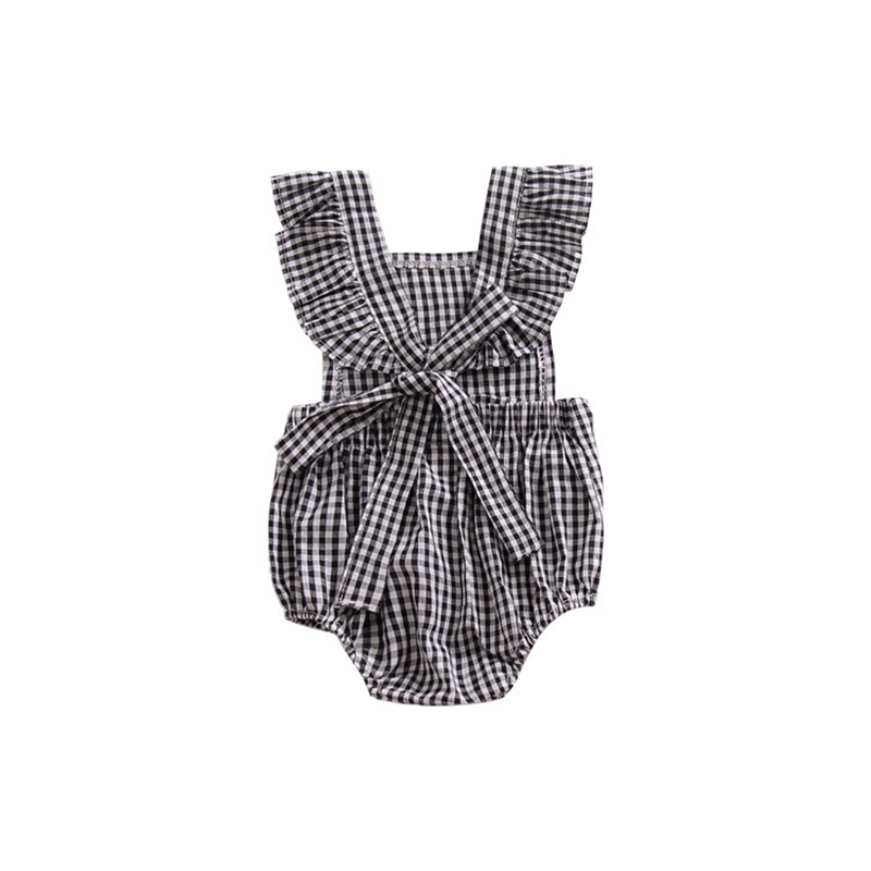 ce587d148410 Aliexpress.com   Buy England style princess girls romper black white plaid  ruffles baby jumpsuit cute toddler overalls summer children clothes from  Reliable ...