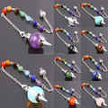 SUNYIK Healing Dowsing Reiki Quartz Agate Opal Gem Stone Pendulum + 7 Chakra Stone Chain