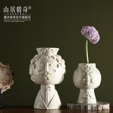 Europe ceramic creative smile Beard man vase pot home decor crafts room decoration object people flowers porcelain figurine