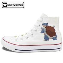 Men Women Converse All Star White Black Skateboarding Shoes Anime Pokemon Blastoise Design High Top Canvas Sneakers Flat