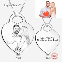 Personalized Name Photo Pendant Collar Necklace 925 Silver Custom Engraved Statment Necklaces Fashion Jewelry Bijoux For Women