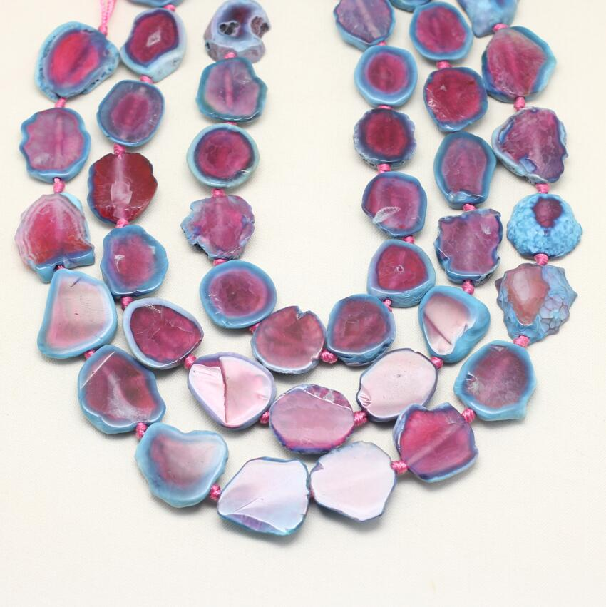 Polished Pink Blue Achate Slab Beads Jewelry,Drilled Natural Dragon Veins Achate Slice Beads Pendant,Full Strand