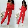 Nuevo 2016 de la Marca Mujeres Chándal de las mujeres Traje de Sudaderas Con Capucha Camiseta Ocasional + Pant 2 unid Set nuevo Traje Rojo Negro Ropa Deportiva