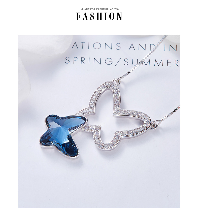 Blue Crystals from Swarovski Butterfly Necklace (10)