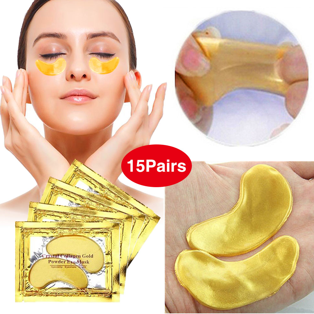 Eye-Mask Crystal Collagen Gold Puffiness/wrinkles 24K Moisturizing 30pcs--15pairs Gel