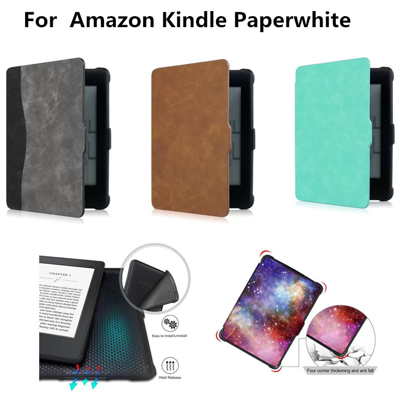 PU Leather Book Cover Fashion Soft TPU Back Case for Amazon Kindle Paperwhite 1 2 3 2012 2013 2015 6'' E-book Auto Sleep/Wake kindle paperwhite 1 2 3 case e book cover tpu rear shell pu leather smart case for amazon kindle paperwhite 3 cover 6 stylus