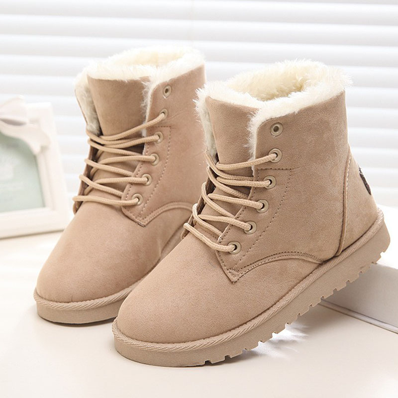Winter Snow Boot Winter Female Warm Short Boots Anti-Slip Waterproof Cotton Black Red Plush Insole Casual Outdoor Shoes