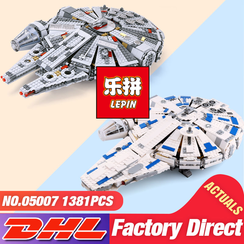 DHL LEPIN 05132 05007 05142 Star Series Wars The 75192 75105 75212 Millennium New Falcon Set Building Block Brick Kid Toys Model 2018 dhl lepin star series war 05007 05033 05132 building blocks bricks model toys compatible 75105 10179 75192 gifts