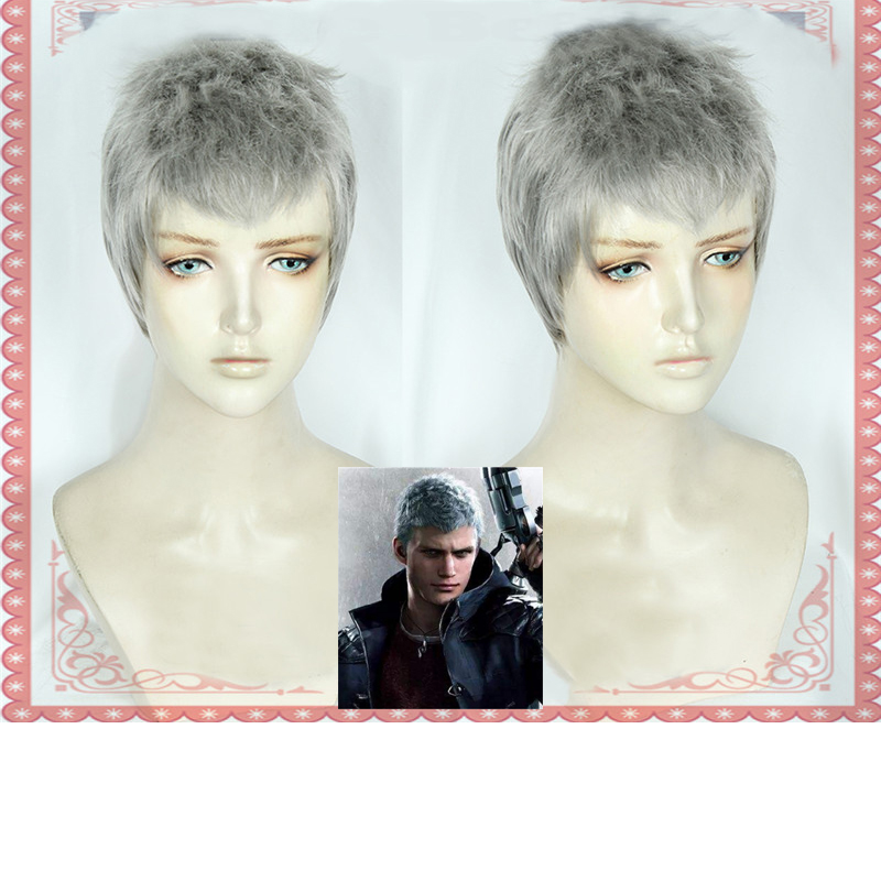 Motivated Devil May Cry 5 Nero Cosplay Wig Halloween Cosplay Costume Wig Hair Game Devil Hunter Nero Short Silver Gray Hair + Wig Cap To Win Warm Praise From Customers
