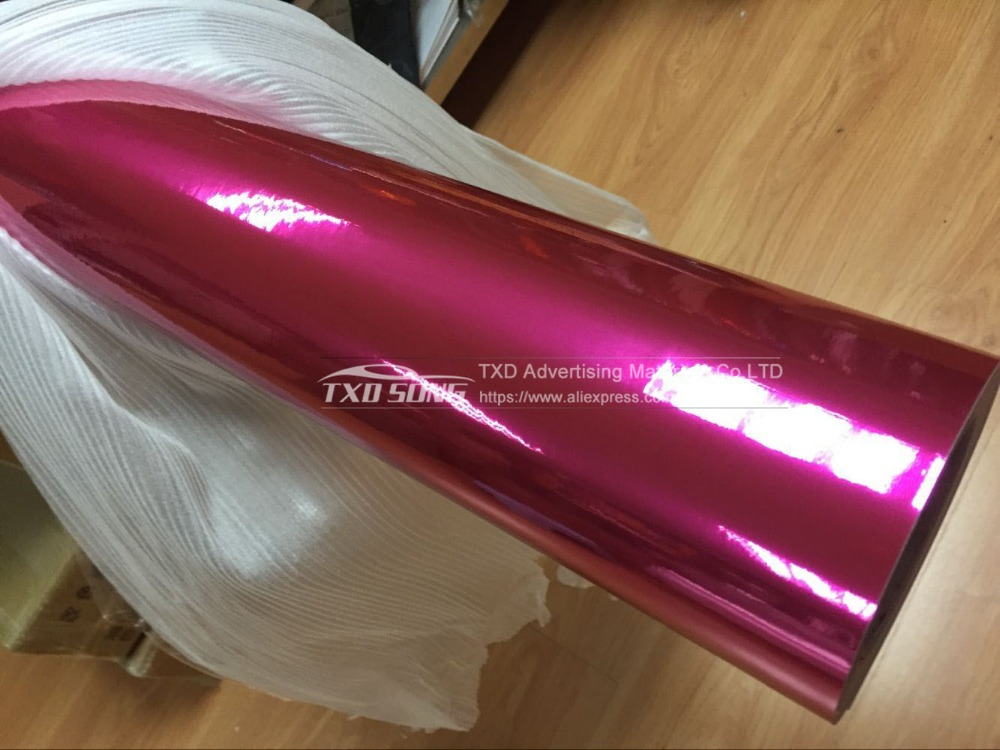 Image 5 - high stretchable rose red Chrome Air Bubble Free Mirror Vinyl Wrap Film Sticker Sheet emblem Car Bike Motor Body Cover-in Car Stickers from Automobiles & Motorcycles