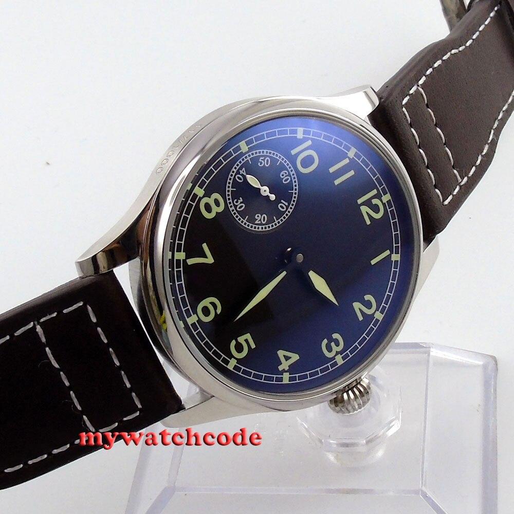 где купить 44mm parnis black dial 6497 movement leather strap hand winding mens watch P361 по лучшей цене