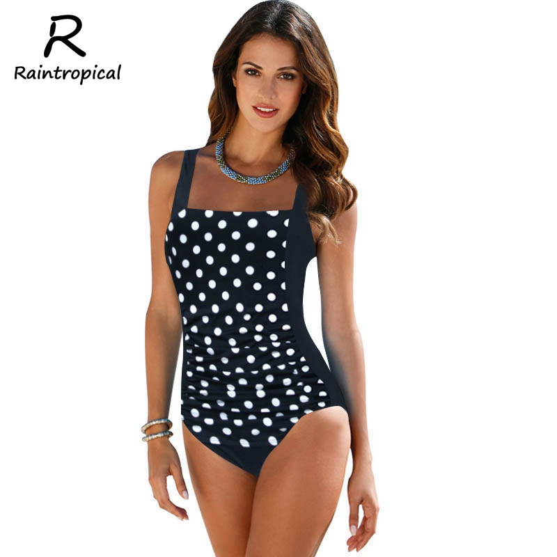 Plus Size Swimwear Women One Piece Swimsuits 2017 New Beach Padded Print Polka Vintage Retro Bathing Suits Swim Wear 4XL one piece swimsuit cheap sexy bathing suits may beach girls plus size swimwear 2017 new korean shiny lace halter badpakken