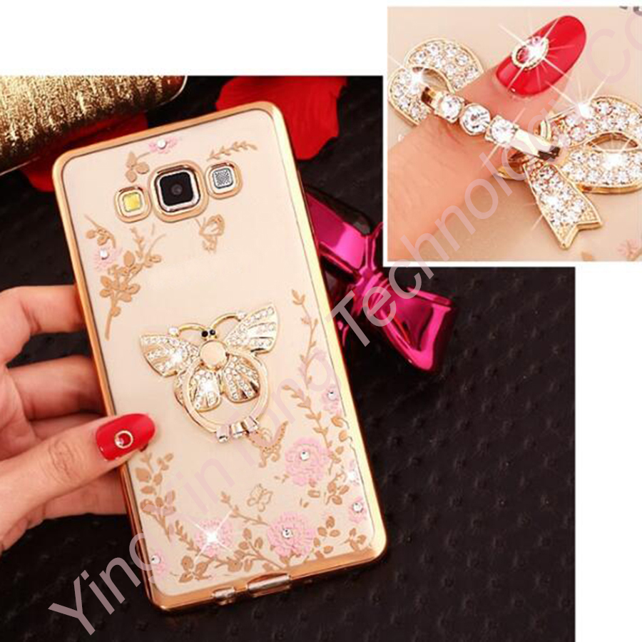 New Luxury Flower Soft TPU Silicone Ring Holder Phone Case For Samsung Galaxy J1 2016 J3 J5 J7 A5 A7 J2 Prime Grand Capa Cover
