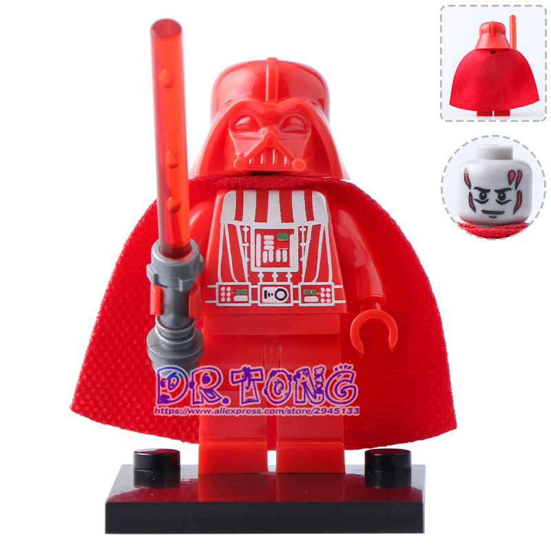 DR.TONG 20pcs/lot Red and Black Darth Vader With Red Lightsaber New Version Mini-block Building Block Children Gift Toys