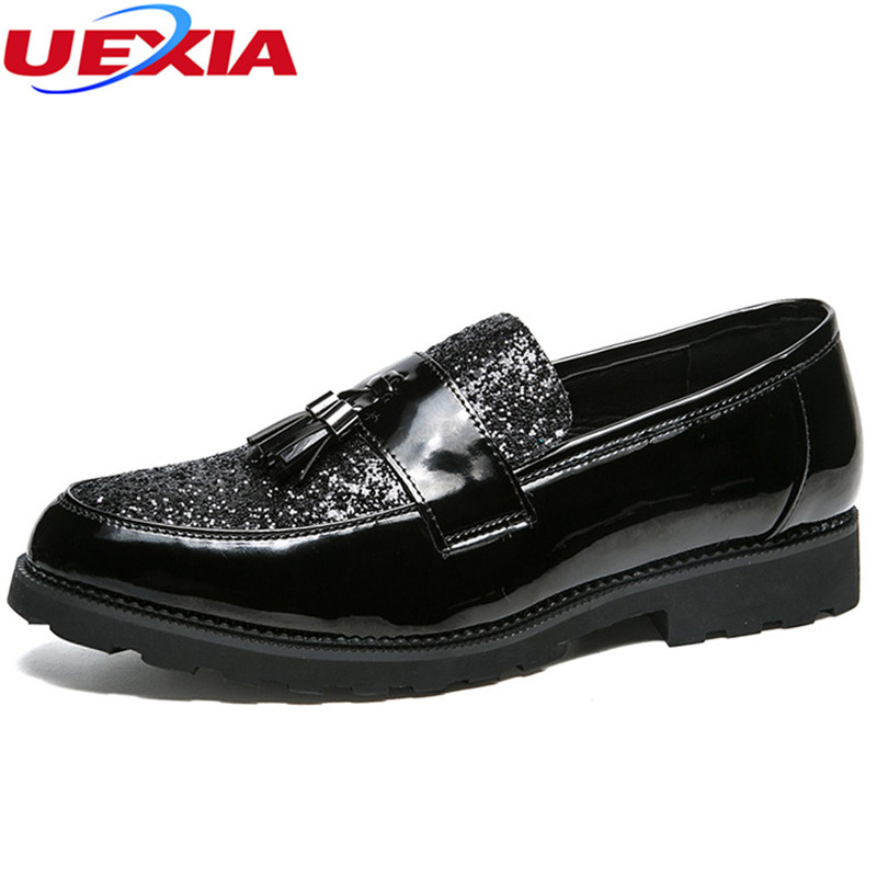 UEXIA Men's Brogue Shoes Black Leather Slip On Men Formal Shoes Pointed Toe Dress Shoes Oxford Wedding Party Office Formal Shoes цена 2017