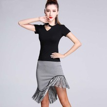 New Fashion Modal Ring Short Sleeve Top Tassel Skirt Sexy Latin Dance 2pcs set for women/female, Ballroom tango Costume MD7136