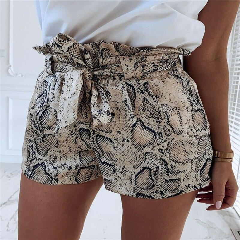 Snake Print High Waist Shorts Women 2019 Spring Summer Elegant Sexy Elegant Fashion Lace Up Ruffle Mini Ladies Shorts Skirts