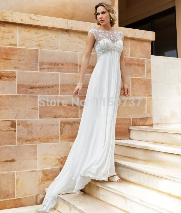 f1dbdb8e5e Linen Wedding Dress Plus Size Casual Dresses Cheap Beach Sheath Floor  Length Sweep Brush Train Beading High Cap S 2015 Discount in Linen Wedding  Dress Plus ...