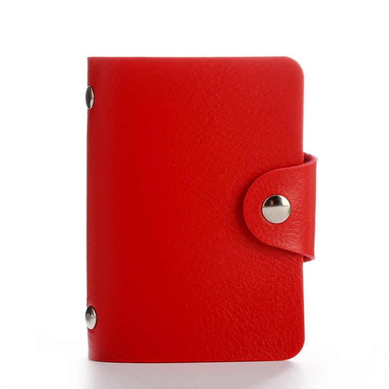 新 24 スロットファッション Pu レザービジネスカードホルダーオーガナイザーハスプ男性女性銀行のクレジットカード ID カード財布 HB236c