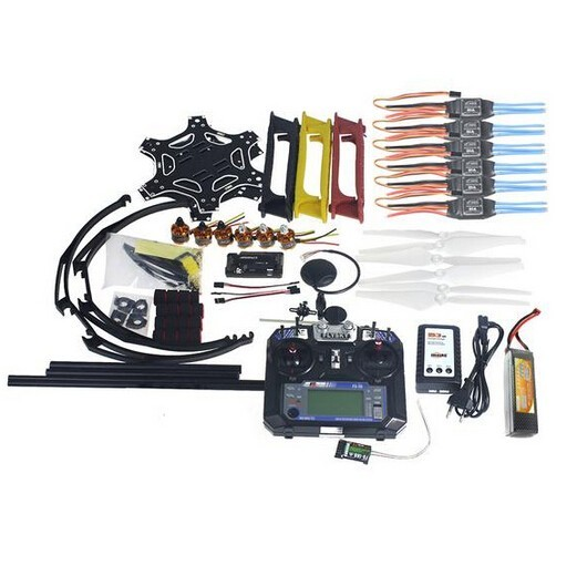 Full Set RC Drone MultiCopter 6 Aircraft Kit F550 Hexa-Rotor Air Frame GPS APM2.8 Flight Control Flysky FS-i6 F05114-AW