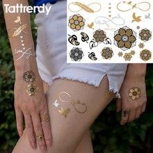 Temporary Tattoo Flash Metal Black Bracelet Henna Metal Women Transfer Metalic Gold Silver Tattoos Sticker Brand N24
