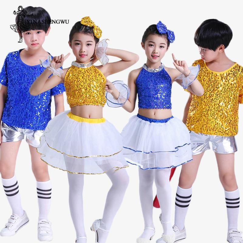 Kids Sequins Show Costume Girls Boys Hip-hop Jazz Modern Dance Outfit Dancewear