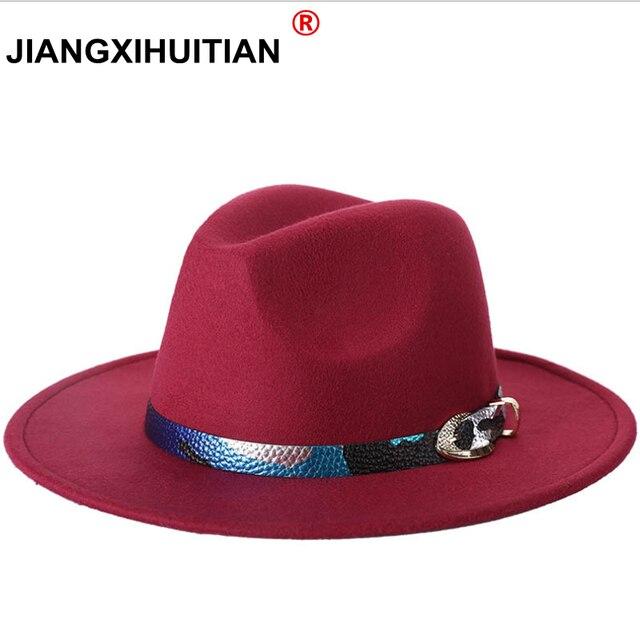 2018 nueva moda de lana de las mujeres negro Fedora sombrero para dama lana  Brim Jazz b4e5ac98c98