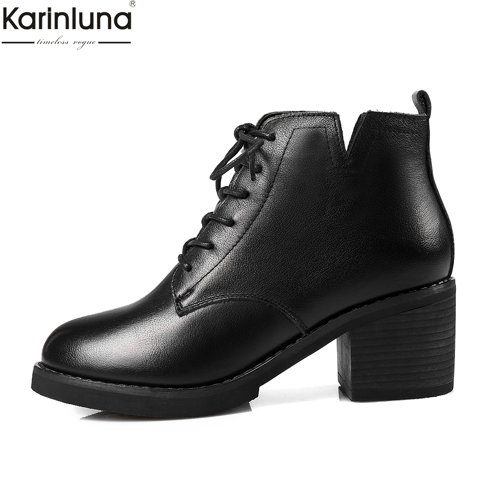 Karinluna Brand New Dropship chunky Heels Genuine cow Leather Boots Women Shoes lace up leisure Shoes Ankle BootsKarinluna Brand New Dropship chunky Heels Genuine cow Leather Boots Women Shoes lace up leisure Shoes Ankle Boots