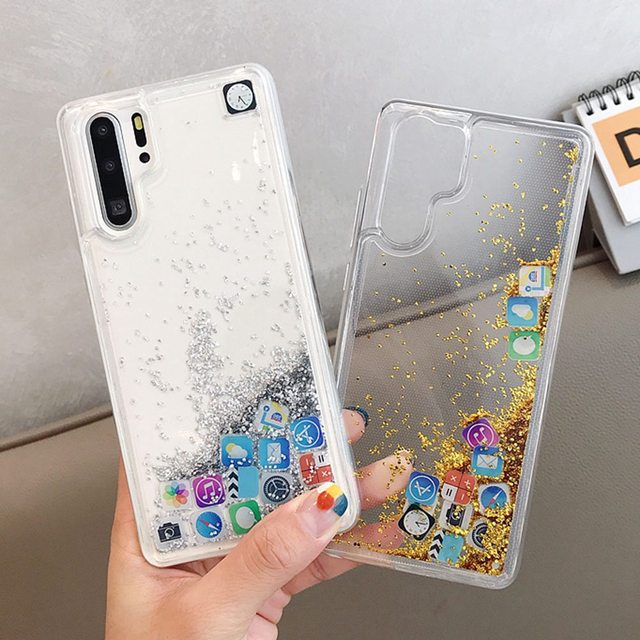 KISSCASE Glitter Liquid Silicone Case For Huawei P30 Pro P20 Lite Cover Case For Huawei P20Lite App Icon Phone Case Funda Para