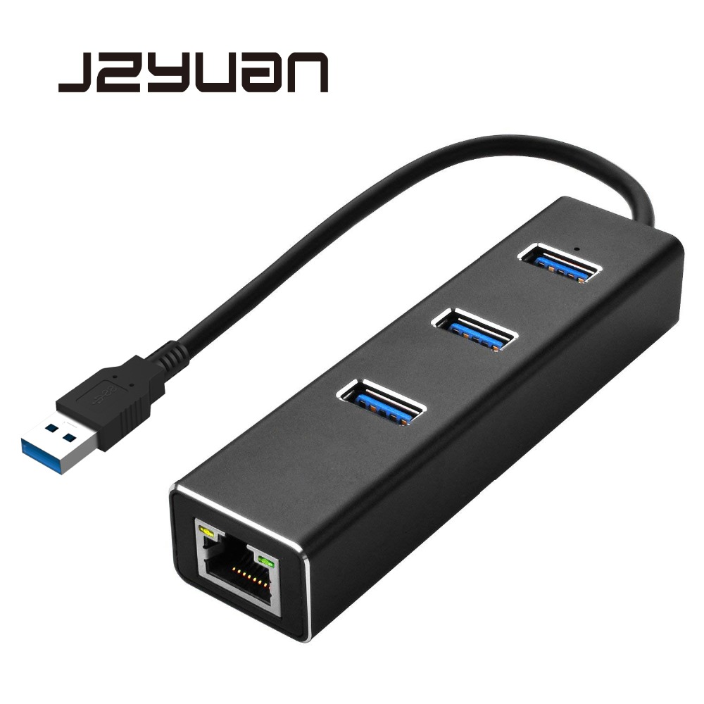 JZYuan USB HUB Ethernet Adapter USB 3.0 HUB 3 Port 10/100/1000Mbps Network Card USB to RJ45 LAN Wired Network USB 3.0 HUB wbtuo usb 3 0 to rj45 10 100 1000mbps gigabit lan ethernet network adapter card black