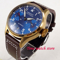 42 мм Corgeut мужские часы бронза покрытием случае запас хода Королевский синий цвет циферблат светящиеся окошко даты автоматический наручные
