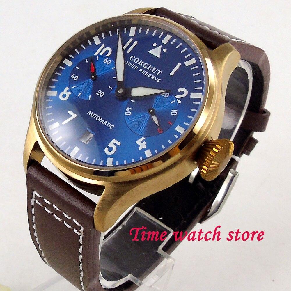 42mm Corgeut men's watch Bronze coated case power reserve royal blue dial luminous date window Automatic wrist watch men 123