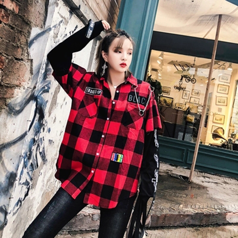 Red And Black Plaid Patchwork Shirt Men