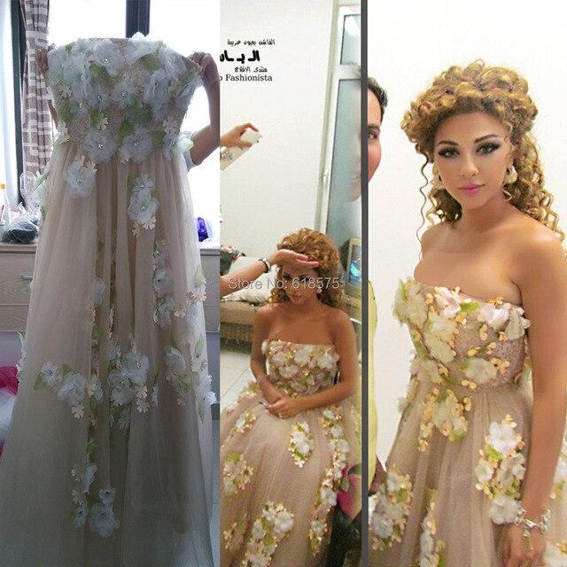 Sin tirantes hechos a mano Myriam Fares Celebrity Dresses Vestido de noche largo 2015 saudita hecho Real vestidos formales Vestido